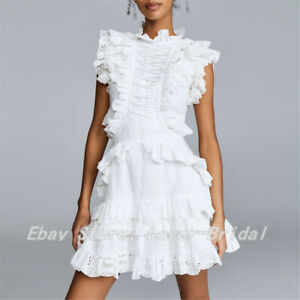 White-Women-Casual-Lace-Ruffle-Sleeveless-Collar-Neck-Dresses-Size-S-M-L