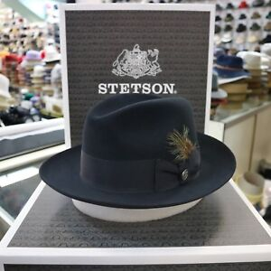 ccc229a4ad5 Image is loading STETSON-TEMPLE-NAVY-BLUE-FUR-FELT-FEDORA-DRESS-