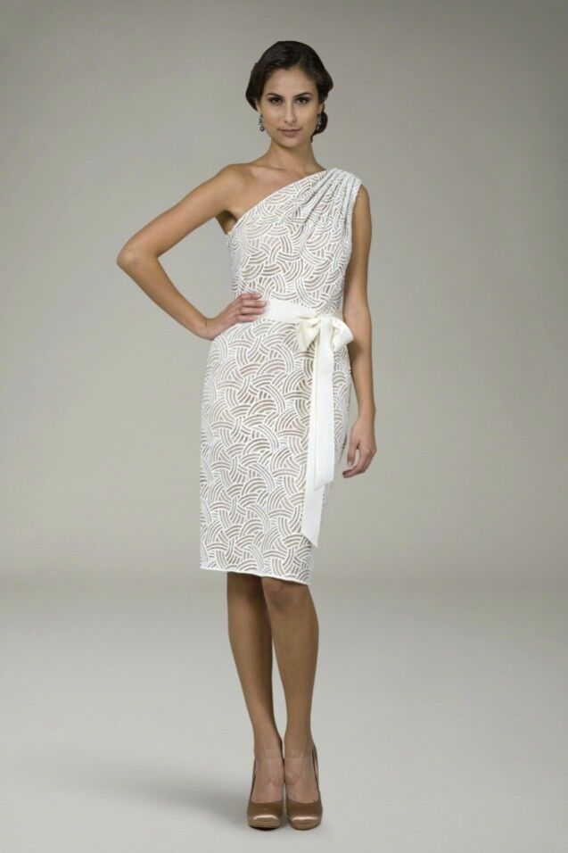 308 Tadashi Shoji Geometric Lace Ivory Nude One Shoulder Shoulder Shoulder Ribbon Belt Dress 118553