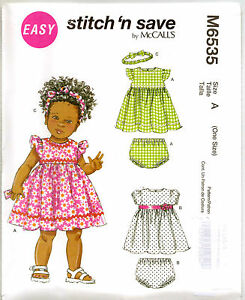 Sewing-pattern-Girl-039-s-Baby-Dress-3-24m-6535