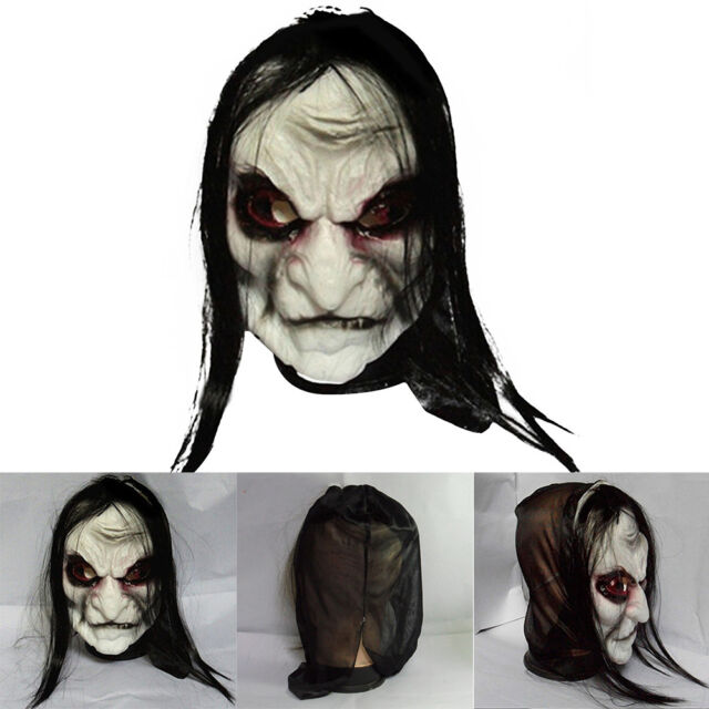 Adult Latex Scary Gray Long Hair Ghost Mask Halloween Party Dress Costume Prop