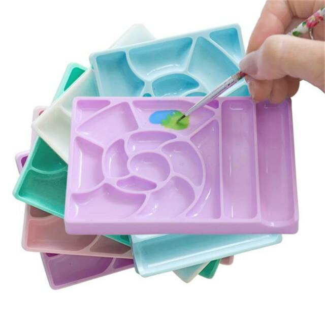 Square Shape Nail Art Palette Color Makeup Mixing Tool Dish for DIY Painting