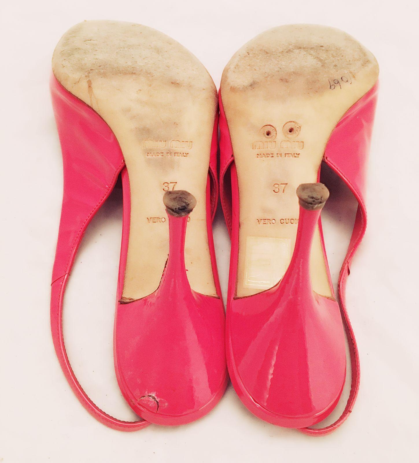 Damenschuhe Damenschuhe Damenschuhe - MIU MIU - Coral Pink Patent Leder High Heel Slingback Pumps 6.5 37 3434c1