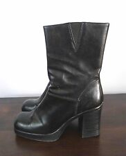 """Size 8  Lower East Side Black Leather Look Boots Stacked 3.5"""" Heel"""