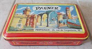 Ancienne-Boite-Metal-bonbons-Tourrons-Nougats-Dauner-Perpignan-France-vintage