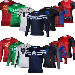Superhero-Costume-Mens-Quick-Dry-Casual-T-shirt-Top-Spiderman-Batman-Sport-Shirt