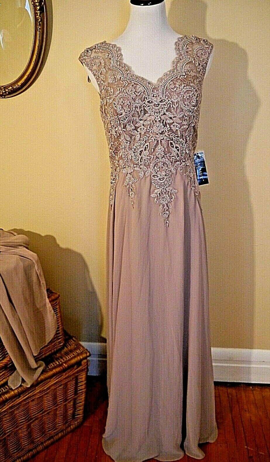 NWT Formal Dress, Cachet, Mauve Beaded Bodice Full Skirt, 8, w scarf