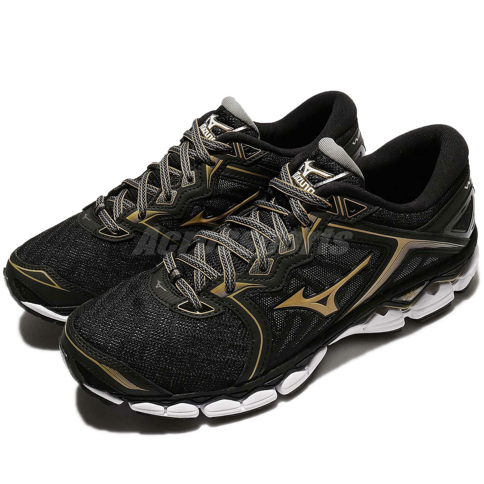 Mizuno Wave Cielo oro Negro Hombre Running Zapatos Tenis Entrenadores J1GC17-0250
