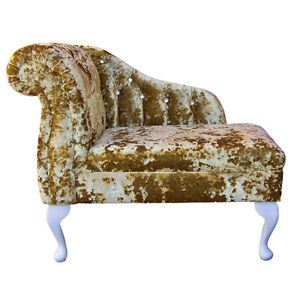 Compact Chaise Longue in a Lustro Gold / Gilded Fabric with Diamante ...