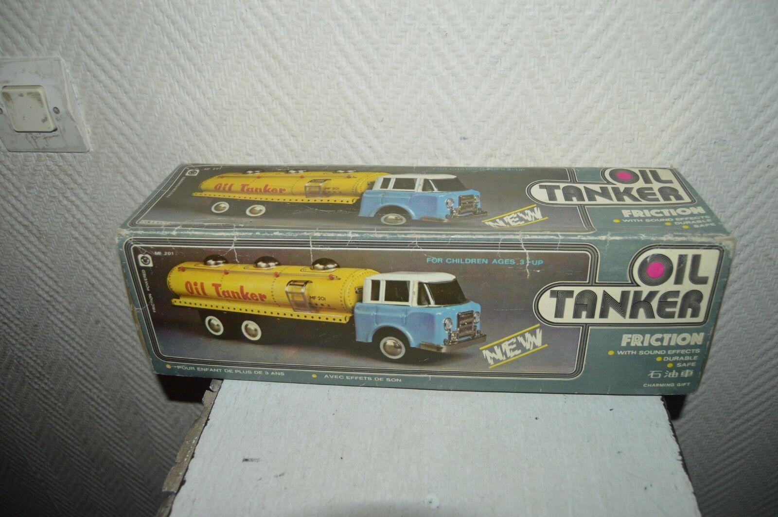 Selten Antik Lastwagen Tank Oil Tankwagen Blech Mf 201 Friction Vintage 1980 Box