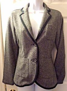 Twill Coat End Grey Women's New Sz Herringbone Blazer Strik End 6 Lands Jacket v4YtwqH