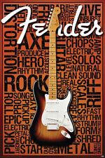 FENDER - MUSIC WORDS POSTER - 24x36 COLLAGE STRAT GUITAR 241279
