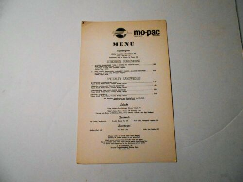 Missouri Pacific Railroad Lunch Menu Dining Car 9138