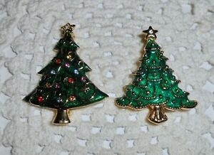 Vintage-Enamel-Christmas-Tree-Brooch-Pin-Lot-of-2-Rhinestone-Gold-tone-C39