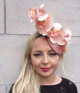 Light Peach Blush Pink Rose Gold Orchid Flower Fascinator Hat Races Sequin 3412