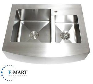 Details About 36 Inch Stainless Steel Curved Front Farm Apron Double Bowl 60 40 Kitchen Sink