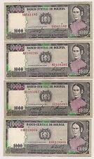 Four Banco Central De Bolivia Mil Pesos Bolivianos Banknotes