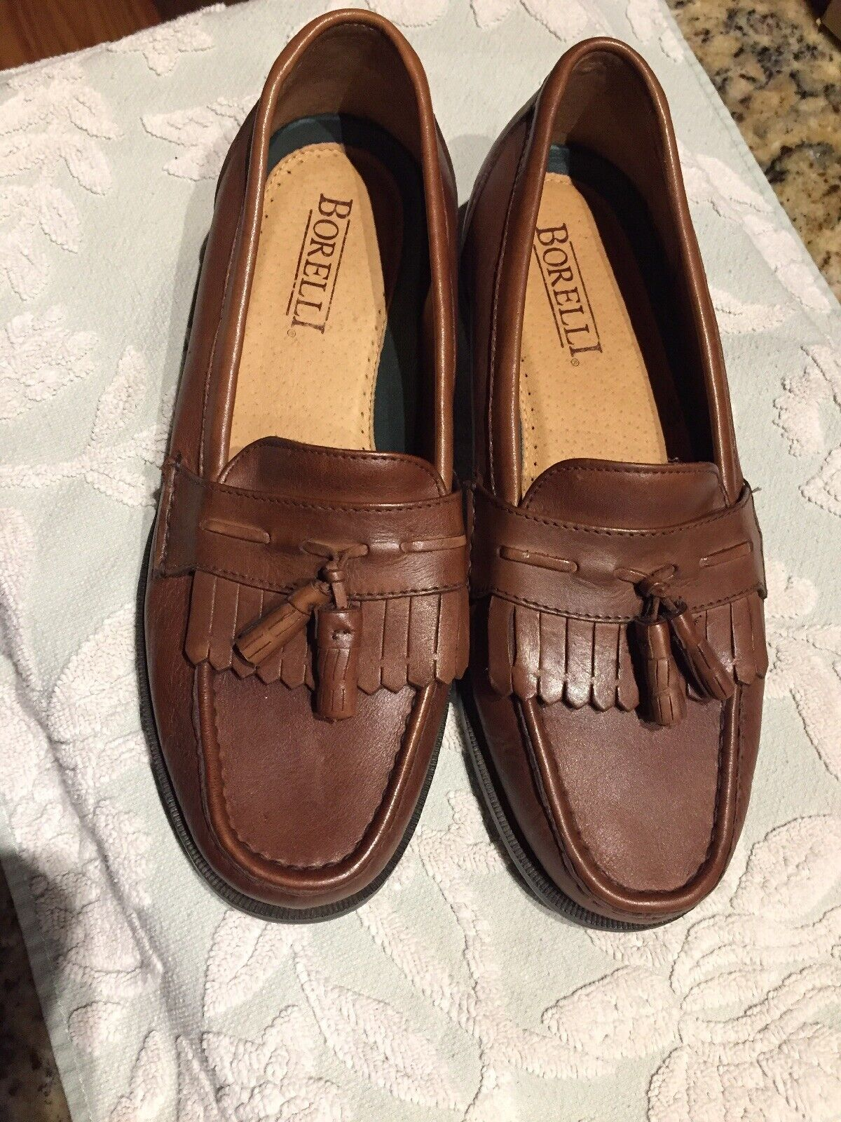 Men's Borelli Wes Kilt Marronee Leather Tassel Loafers  9 1 2 M 322010 Sautope classeiche da uomo