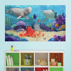 Disney finding dory giant wall mural decals nemo ocean for Disney wall mural stickers