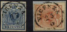 LOMBARDEI-VENETIEN 1850 2Marke:-45C, und -15C, VICENZA. Schönes Lot!