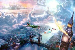 Kinkade-Disney-Tinker-Bell-and-Peter-Pan-Fly-to-Neverland-12x16-Classic-Edition
