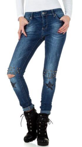 Tubes-Jeans Bleached Genou-Fente Rivets Paillettes étoiles
