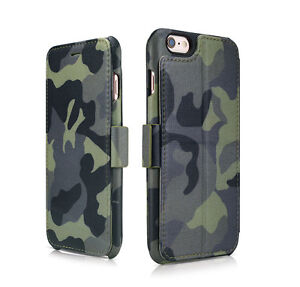 Coque-CUIR-Camouflage-iPhone-SE-6-6S-Plus-7-7-Plus-Portefeuille-Avec-Support