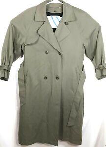 London Fog Womens 8 Petite Green Heavy Trench Coat Ebay