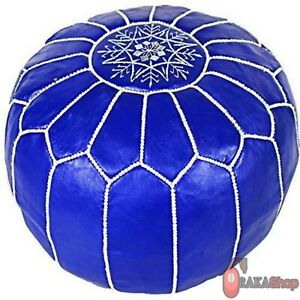 Genuine-blue-Leather-Pouf-Leather-Boho-Ottoman-Footstool-chairs-living-room