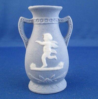 """Miniature Vase Blue White Running Cherub Relief Decoration Occupied Japan 3"""""""