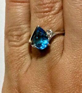 6 34 US Blue Topaz Ring N EU 53 size UK