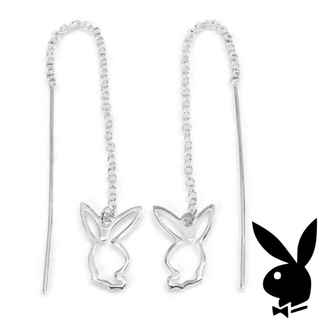 GENUINE 925 Sterling Silver Playboy Threader Earrings w Bunny Logo Long Dangle 2