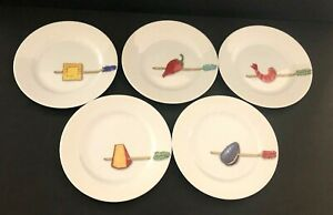 Crate-and-Barrel-Appetizer-Plates-Nancy-Green-Tidbits-6-5-034-Across-Set-of-5