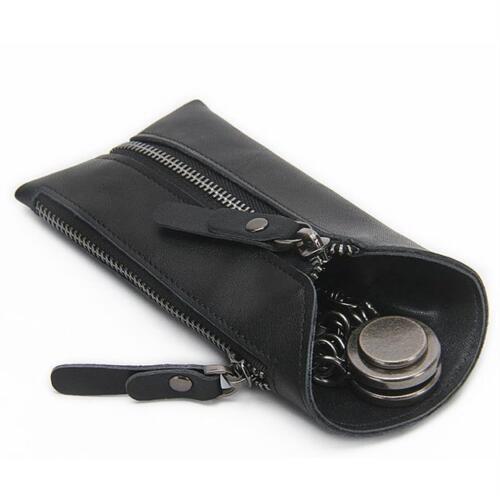 Vintage Genuine Leather Keychain Key Organizer Wallet Zipper Keys Holder Case