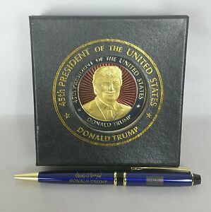 Donald Trump 58th Presidential Inauguration 2.5in Challenge Coin & Signature Pen