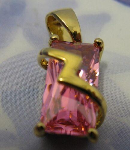 Pendentif Pierre Rose Cz ZigZag 15mm Plaqué Or 18K 5 Microns Dolly-Bijoux