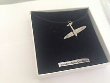 Spitfire Plane SPITPPIN Pewter Emblem ON A BLACK CORD Necklace Handmade