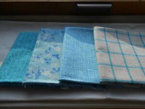 Four Fat Quarters Cotton Batik Quilting Fabric Blue Taupe Andover Michael Miller