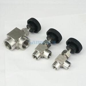 "1/8"" 1/4"" 1/2"" NPT Female Elbow Needle Valve 304 Stainless Steel Flow Control"
