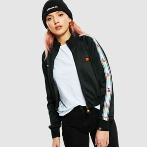 Ellesse-Womens-Track-Top-Jacket-Full-Zip-Taped-Logo-Black-Keiko-RRP-70