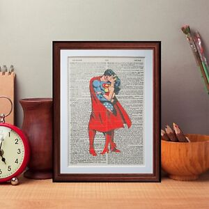 Superman-Wonder-Woman-Kiss-Dictionary-page-art-print-gift-literary-book-poster