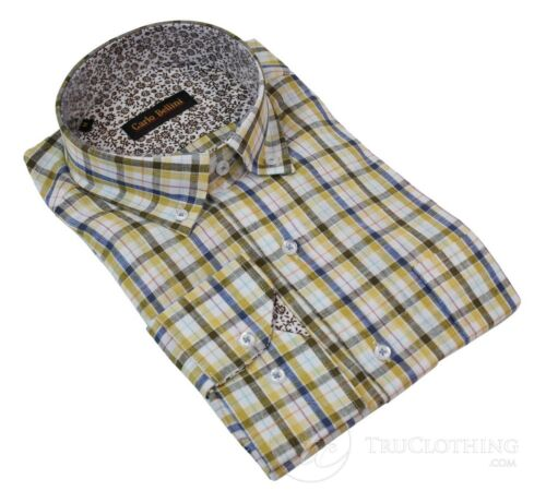 Mens Linen Button Collar Shirt Smart Casual Check Checked Yellow Red Navy White