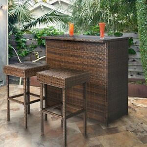 Outdoor Bar Set 3pc Brown Wicker Patio Furniture Stools Backyard Bistro Storage Ebay