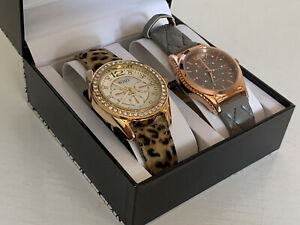 NEW-XOXO-GOLD-DIAL-CHEETAH-PRINT-STRAP-amp-ROSE-GOLD-DIAL-TAUPE-LEATHER-WATCH-SET