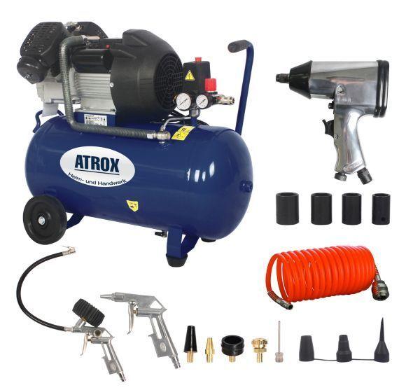 Atrox AY676 Doppelzylinder-Kompressor-Set, 10 bar, 50 l, inkl. Zubehör,350 l min