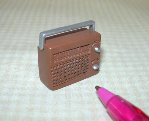 Miniatures 1:12 Miniature Brown Metal Radio w//Silver Swing Handle and Knobs