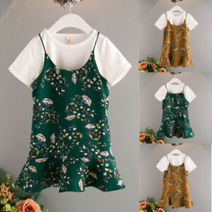 2PC-Toddler-Baby-Girl-Kid-Clothes-T-Shirt-Tops-Casual-Overall-Dress-Outfits-2-6T