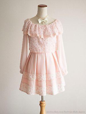 LIZ LISA Off-shoulder Flower Lace Pink OP Dress Hime Sweet Lolita Kawaii Japan