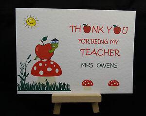 Personalised Handmade Thank You Card Best Teacher Nursery Nanny