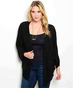 Chic Versatile Plus Size Black Cardigan Sweater Shrug Bolero XL, 3XL
